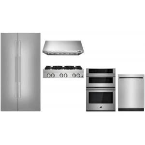 """Jenn-Air 5 Piece Kitchen Appliances Package with 42"""" Side by Side Refrigerator  30"""" Electric Double Wall Convection Oven/Microwave Combo  36"""" Gas Rangetop"""