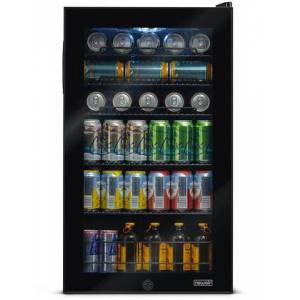 """NewAir AB-1200B 19"""" Freestanding Beverage Center with 126 Cans or 3.4 cu. ft. Capacity  Double Paned Glass Door  Interior LED Lighting  Metal Wire Rack"""