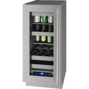 """U-Line UHBV515-SG51A 5 Class 15"""" Left Hinge Beverage Center with 2.9 cu. ft. Capacity  Two Removable Full-Extension Wine Racks  LED Lighting and Soft Close"""