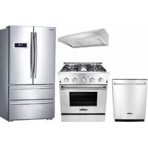 """Thor 4-Piece Stainless Steel Kitchen Package with HRF3601F 36"""" French Door Refrigerator  HRG3080U 30"""" Freestanding Gas Range  HDW2401SS 24"""" Fully"""