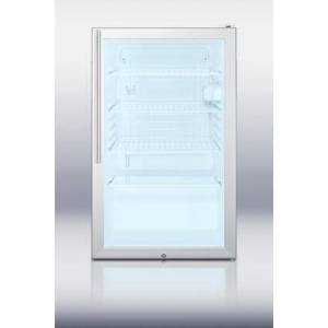 """Summit SCR450LBI7HVADA 20"""" Commercially Approved & ADA Compliant Compact Refrigerator with 4.1 cu. ft. Capacity  Glass Door  Auto Defrost and Reversible"""