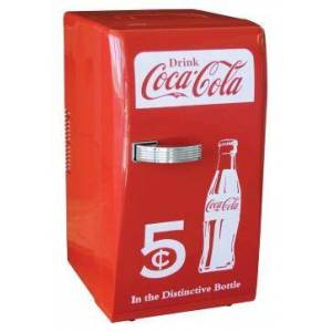 """Koolatron CCR-12 Coca-Cola 11"""" Retro Refrigerator with 18 Can Capacity (12 oz.)  Thermoelectric Cooling  Portable Handle Top  and Removable Sliding Shelves  in"""