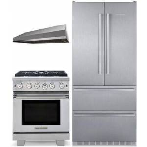 """Liebherr 3 Piece Kitchen Appliances Package with CS2082 36"""" French Door Refrigerator  ARR530N 30"""" Gas Range and MAES3010SS600B 30"""" Under Cabinet Convertible"""