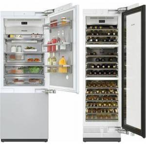 "Miele 2 Piece Kitchen Appliances Package with KF2801Vi 30"" Smart Counter Depth Bottom Freezer Refrigerator and KWT2601Vi 24"" Smart Built-In Triple Zone"