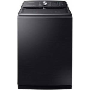 """Samsung WA54R7600AV 28"""" Top Load Washer with 5.4 cu. ft. Capacity  Active Water Jet  Steam Sanitize and Super Speed in Black Stainless"""