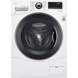 """LG WM1388HW 24"""" Energy Star Qualified Compact Front Load Washer with 2.3 cu. ft. Capacity  14 Wash Programs  1400 RPM  Internal Heater  TrueBalance"""