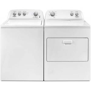 """Whirlpool Top Load Quick Wash WTW4850HW 28"""" Washer with Front Load WED4850HW 29"""" Electric Dryer Laundry Pair in"""