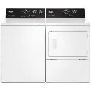 """Maytag Top Load PowerWash MVWP575GW 27"""" Washer with Front Load MEDP575GW 27"""" Electric Dryer Commercial Laundry Pair in"""