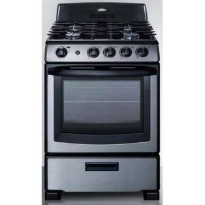 """Summit PRO247SS 24"""" Freestanding Gas Range with 4 Sealed Burners  2.9 cu. ft. Oven Capacity  LP Convertible  Continuous Grates  in Stainless"""