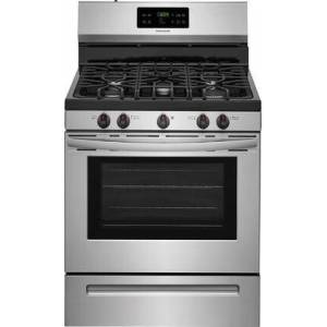 """Frigidaire FFGF3054TS 30"""" Gas Range with 5 Burners  5 cu. ft. Oven Capacity  One-Touch Self Clean  Quick Boil  Electronic Kitchen Timer  Sealed Gas Burner"""