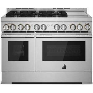 """Jenn-Air JGRP548HL 48"""" RISE Professional Gas Range with 6 Sealed Burners  Chrome-Infused Griddle  Dual Ovens  in Stainless"""