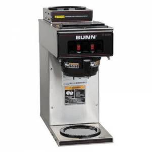 Bunn-O-Matic 13300.0002 VP17- 12 Cup Low Profile Pourover Brewer with 1 Upper and 1 Lower Warmer and SplashGuard Funnel in Stainless
