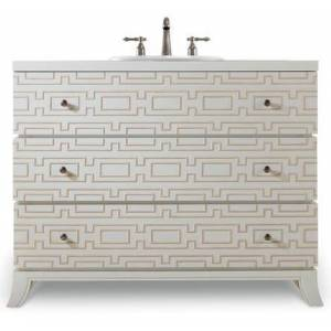 """Cole and Co. Penelope 112227554361 43.5"""" Hall Chest with 2 Drawers  Geometric Design  Hammered Satin Nickel Hardware in Brilliant Diamond White Handpainted"""