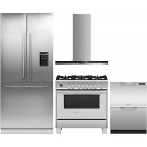 """Fisher & Paykel 4 Piece Kitchen Appliances Package with RS36A80U1N 36"""" French Door Refrigerator  OR36SCG6X1 36"""" Dual Fuel Gas Range  HC36DTXB2 36"""" Wall Mount"""