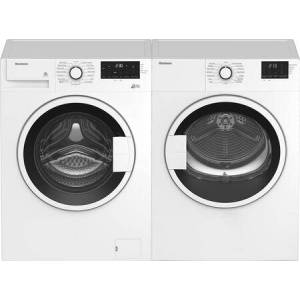 "Blomberg Compact Front Load White Laundry Pair with WM72200W 24"" Compact Washer and DV17600W 24"" Compact Electric"