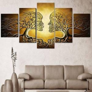 DHgate 5 panels modern decor pictures abstract love kiss lady tree painting prints home office wall art decor bedroom living room decor no frame