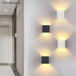 DHgate waterproof outdoor lighting lampada led aluminium wall light rail project square bedside lights bedroom wall decor arts