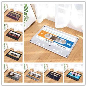 DHgate 50x80cm vintage entrance anti-slip doormat magnetic cassette tape mix tape carpets household bedroom rugs decorative stair mats