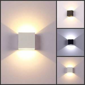 DHgate 6w led wall lamp aluminium wall light rail project square modern minimalist led bedside bedroom lampada decor arts
