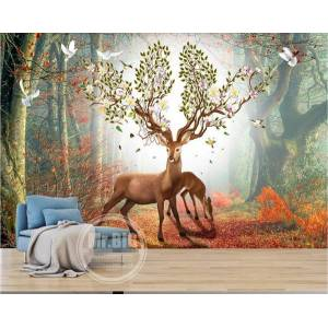 DHgate 3d room wallpaper cloth custom p mural nordic fantasy forest elk boutique sofa tv background wall painting wallpaper for walls 3 d