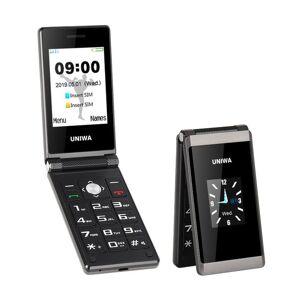 DHgate uniwa x28 2.8/1.77 inch dual screen sos function big button 1200mah battery long standby unlock flip cell phone