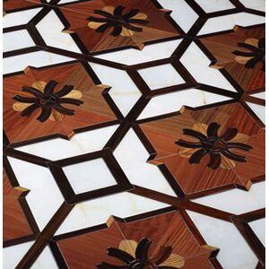 luxurious villas art parquet wood flooring jade marble white color indonesia rosewood hardwood floor balsamo red finished medallion inlay