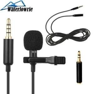 DHgate lavalie microphone + 2m mic cable extension cord 3.5mm jack tie clip microphones usb audio lapel mic for android mobile