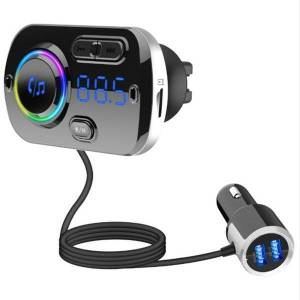 DHgate wireless bluetooth fm transmitter car handsmp3 player dual usb qc3.0 fast charger with colorful atmosphere lights