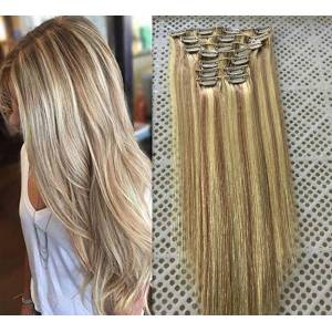 """DHgate 14""""-26"""" 9pcs/set 18 clips 100g 120g 140g piano color #18/613 clip in human hair extensions brazilian remy clip in hair extensions"""