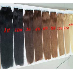 DHgate 50g 20pcs/pack glue skin weft pu tape in human hair extensions 18 20 22 24inch brazilian indian hair extension