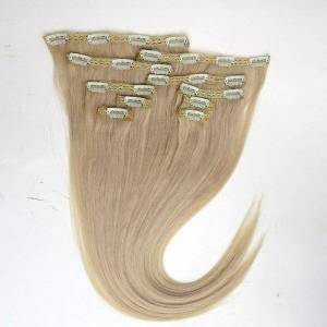 DHgate 120g 10pcs/1set clip in hair extensions 18 20 22inch 613#/bleach blonde straight remy human hair quality