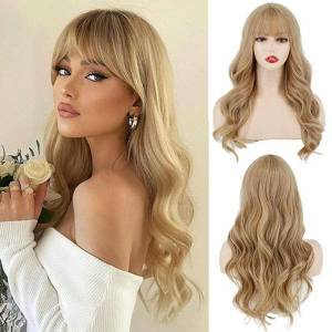 DHgate synthetic wigs blonde wig with bangs long wavy ombre curtain bang for white women light blond dark roots heat resistant hair nat