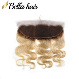 "DHgate brazilian virgin human hair frontal blonde lace closure frontal 13x4"" 1b/#613 color ear to ear closures in bulk body wave bella hair"