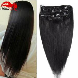 """DHgate 10""""-26"""" thick double weft 70-200g grade 7a 100% clip in remy human hair extensions full head 8 piece"""
