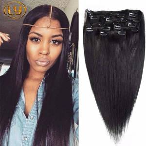 DHgate 7a straight clip in human hair extensions peruvian straight human hair clip in extensions 10pcs/set 200g for black hair extensions