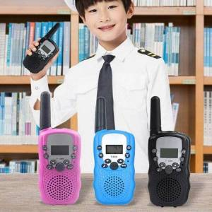 DHgate walkie talkie 2pc/box original kids lcd display battery powered handheld 1-5km radio transceiver interphone children toys