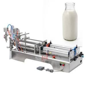 DHgate 110v2 20v double-head liquid filling machine for pneumatic beverage filling machine of juice drink soy sauce vinegar milk olive oil