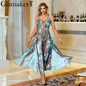 DHgate glamaker leopard print retro maxi dress women sleeveless party club holiday dress vintage high split v neck long dvestidos