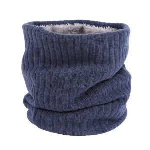 DHgate women autumn winter knitted infinity loop scarf outdoor warm solid color wild scarves thermische fleece sjaals snood halswarmer