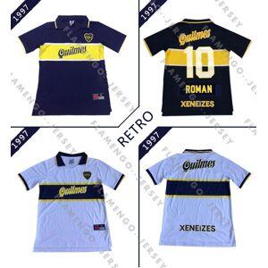 DHgate 96 97 boca juniors retro jerseys classic vintage maradona soccer jersey 1996 1997 riquelme football shirt roman maillot de foot