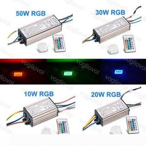 DHgate lighting transformers rgb 10w 20w 30w 50w waterproof aluminum silvery with 24key controller accessories for floodlight spotlight dhl
