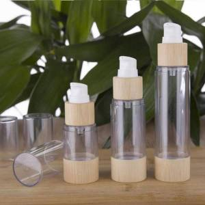 DHgate eco-friendly bamboo 20ml 30ml 50ml 80ml 100ml 120ml empty airless vacuum pump bottles for makeup cream serum lotion skin care