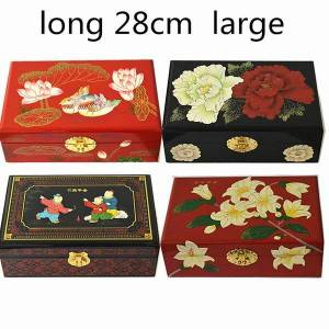 DHgate 2 layer lacquerware chinese wooden box with lock large vintage decoration storage pull box for jewelry makeup case wedding birthday gift