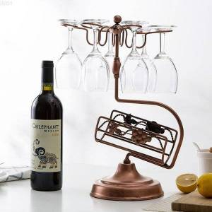 DHgate metal rack,wine holder,counterstand 1 bottle storage holder with 6 glass rack,ideal christmas gift for wine lover