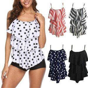 DHgate bikinis 2020 mujer multilayer print swimwear women dot swimsuit push up bathing suit striped biquini plus sizi bodysuit xxl1