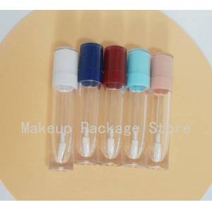 DHgate 10/20/30/50/100pcs 8ml empty lip gloss tube plastic lipgloss bottle container white blue cap cylinder small lipgloss wholesale
