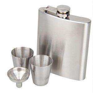 DHgate 2020 christmas portable stainless steel flasks 7oz bottle set pocket outdoor wine glasses sets hip flask with funnel