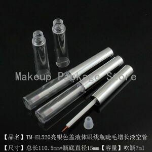 DHgate 20/50pcs/lot 7ml empty transparent eyeliner tubes with silver cap makeup diy eyelash growth liquid bottles refillable container