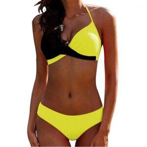 DHgate padded bra bikinis 2020 woman halter swimsuit push up plus size swimwear women bathers yellow micro bikini bathing suit xxl1