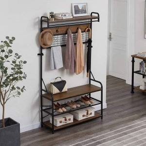 DHgate 5-in-1 entryway hall tree with shoe bench, coat rack with 11 hooks and 2 hanging rods, grid panel for memo and p display, brown finish